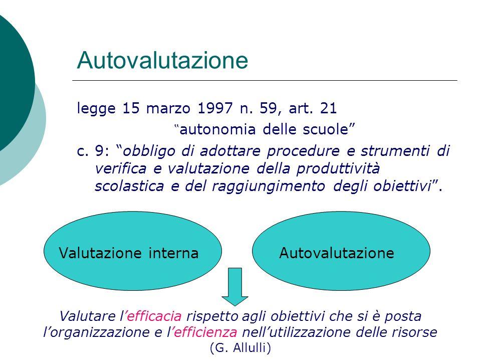 Autovalutazione legge 15 marzo 1997 n. 59, art. 21 autonomia delle scuole c. 9: obbligo di adottare procedure e strumenti di verifica e valutazione de
