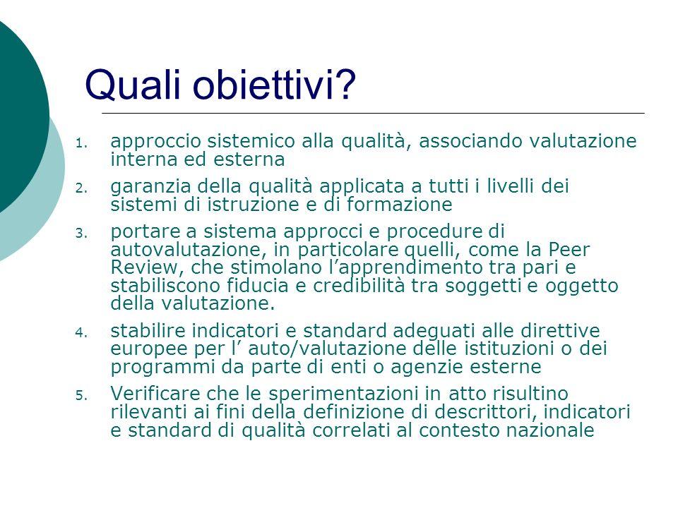 Quali obiettivi? 1. approccio sistemico alla qualità, associando valutazione interna ed esterna 2. garanzia della qualità applicata a tutti i livelli