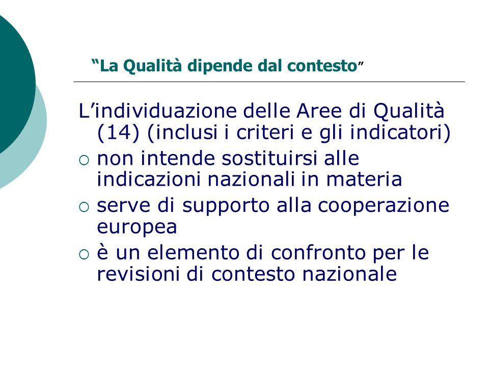 Lindividuazione delle Aree di Qualità (14) (inclusi i criteri e gli indicatori) non intende sostituirsi alle indicazioni nazionali in materia serve di