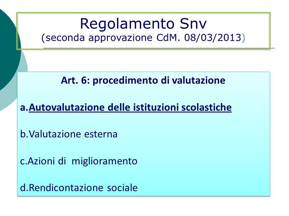 Regolamento Snv (seconda approvazione CdM. 08/03/2013) Art. 6: procedimento di valutazione a.Autovalutazione delle istituzioni scolastiche b.Valutazio