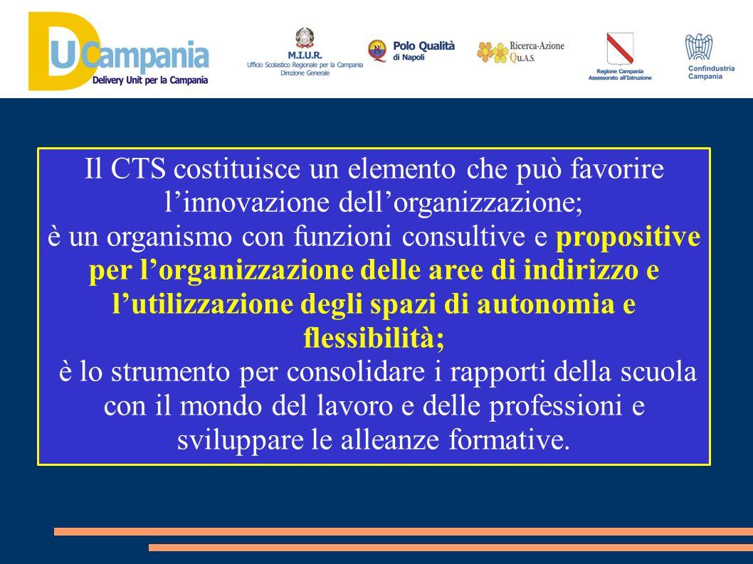 Il CTS costituisce un elemento che può favorire linnovazione dellorganizzazione; è un organismo con funzioni consultive e propositive per lorganizzazi