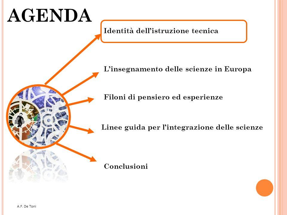 A.F. De Toni 2 AGENDA Filoni di pensiero ed esperienze Linee guida per lintegrazione delle scienze Conclusioni Linsegnamento delle scienze in Europa I