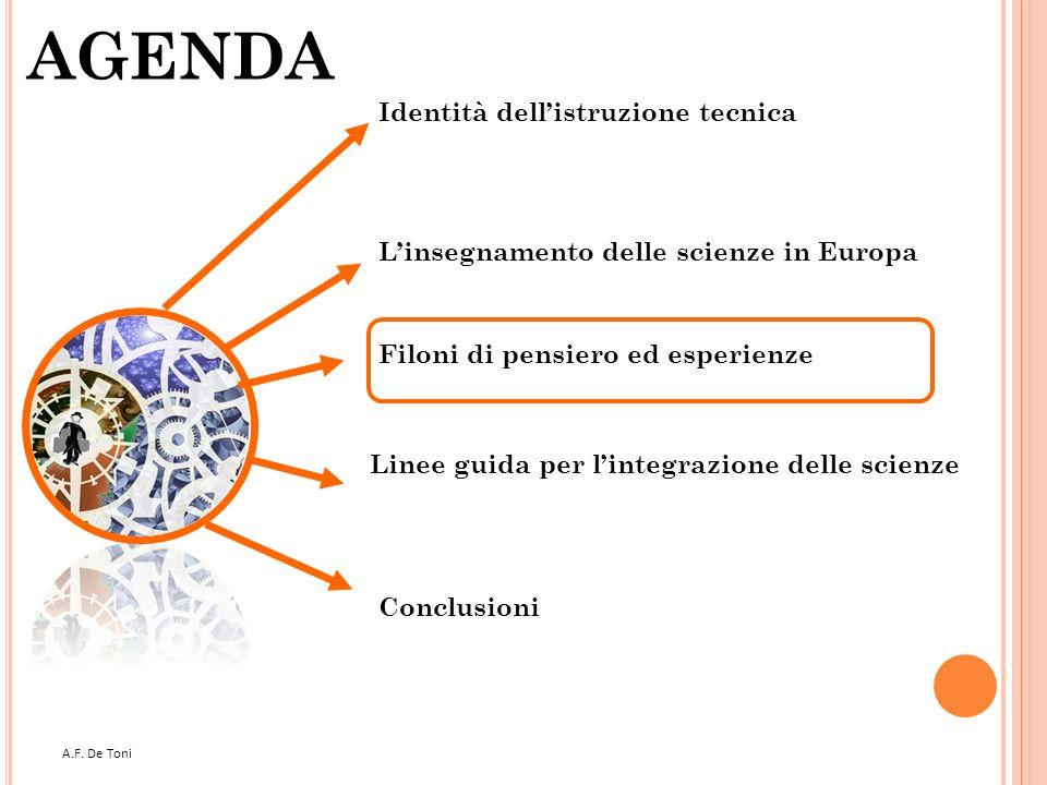 A.F. De Toni 27 AGENDA Filoni di pensiero ed esperienze Linee guida per lintegrazione delle scienze Conclusioni Linsegnamento delle scienze in Europa