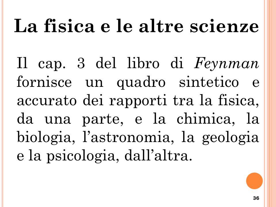 La fisica e le altre scienze Il cap. 3 del libro di Feynman fornisce un quadro sintetico e accurato dei rapporti tra la fisica, da una parte, e la chi