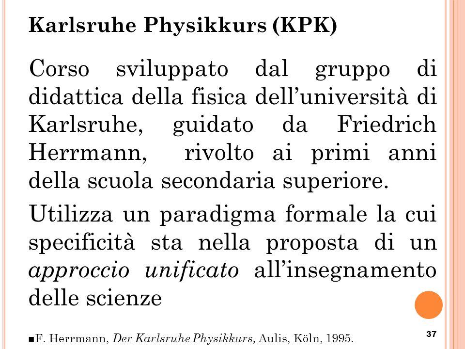 Karlsruhe Physikkurs (KPK) Corso sviluppato dal gruppo di didattica della fisica delluniversità di Karlsruhe, guidato da Friedrich Herrmann, rivolto a