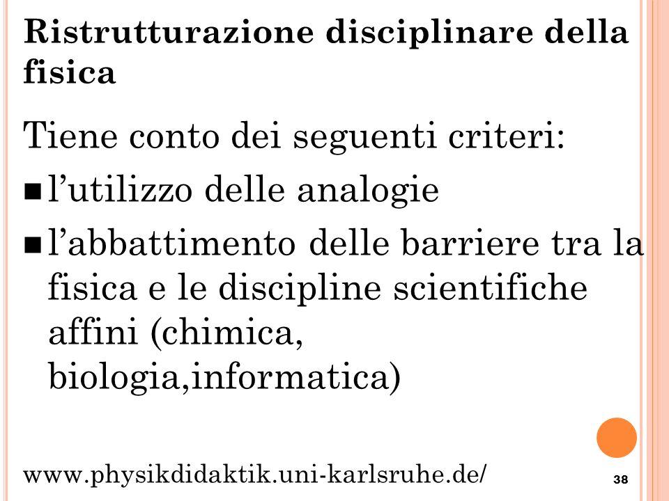 Ristrutturazione disciplinare della fisica Tiene conto dei seguenti criteri: lutilizzo delle analogie labbattimento delle barriere tra la fisica e le