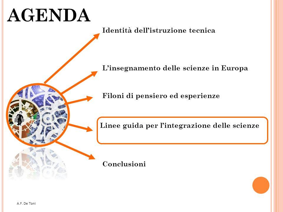 A.F. De Toni 40 AGENDA Filoni di pensiero ed esperienze Linee guida per lintegrazione delle scienze Conclusioni Linsegnamento delle scienze in Europa