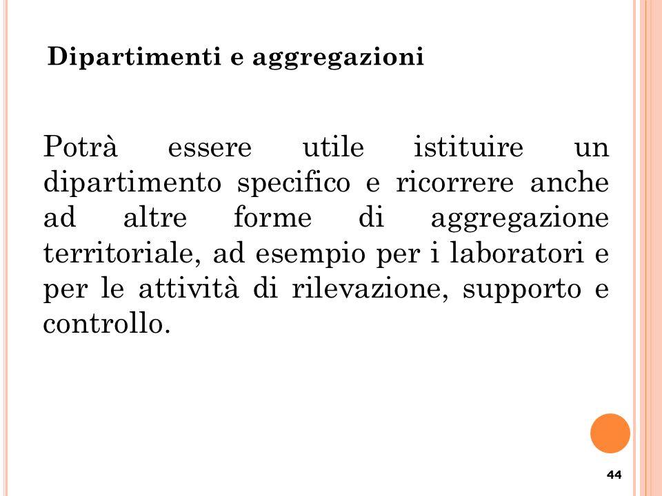 Dipartimenti e aggregazioni 44 Potrà essere utile istituire un dipartimento specifico e ricorrere anche ad altre forme di aggregazione territoriale, a