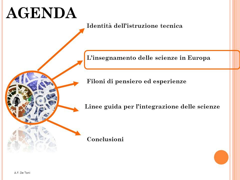 A.F. De Toni 5 AGENDA Filoni di pensiero ed esperienze Linee guida per lintegrazione delle scienze Conclusioni Linsegnamento delle scienze in Europa I