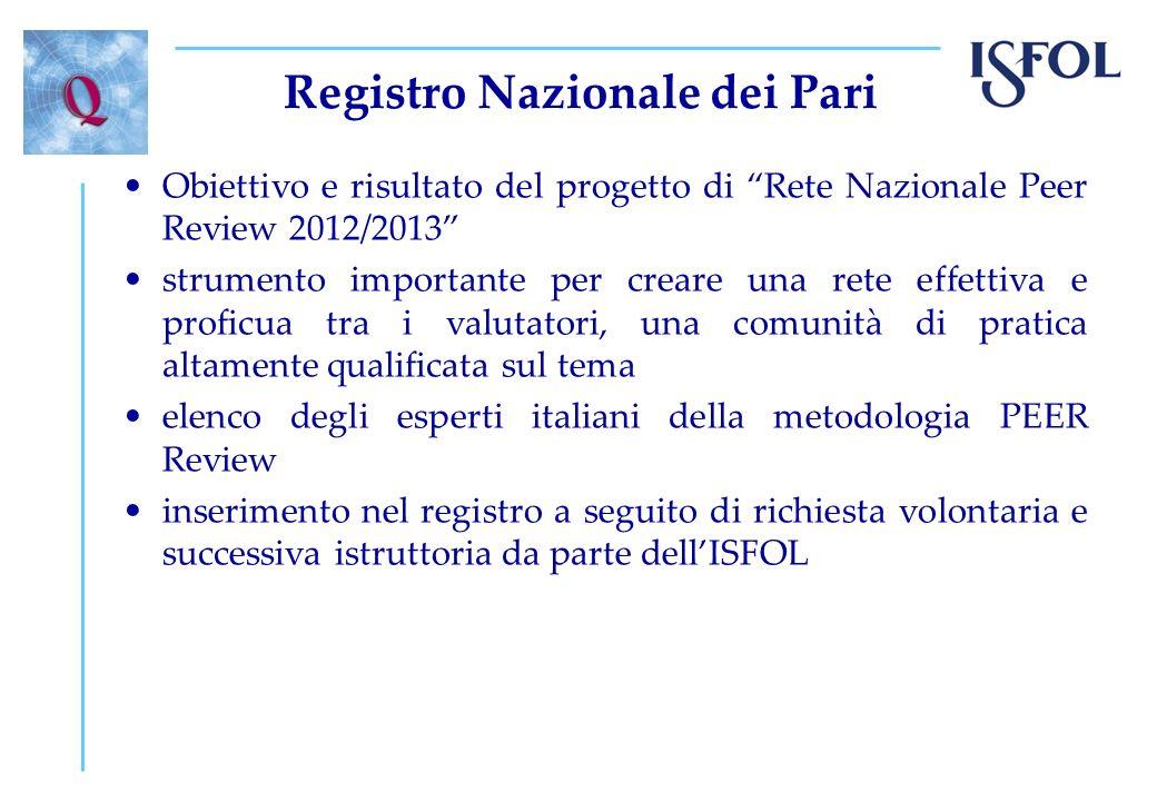 Registro Nazionale dei Pari Obiettivo e risultato del progetto di Rete Nazionale Peer Review 2012/2013 strumento importante per creare una rete effett