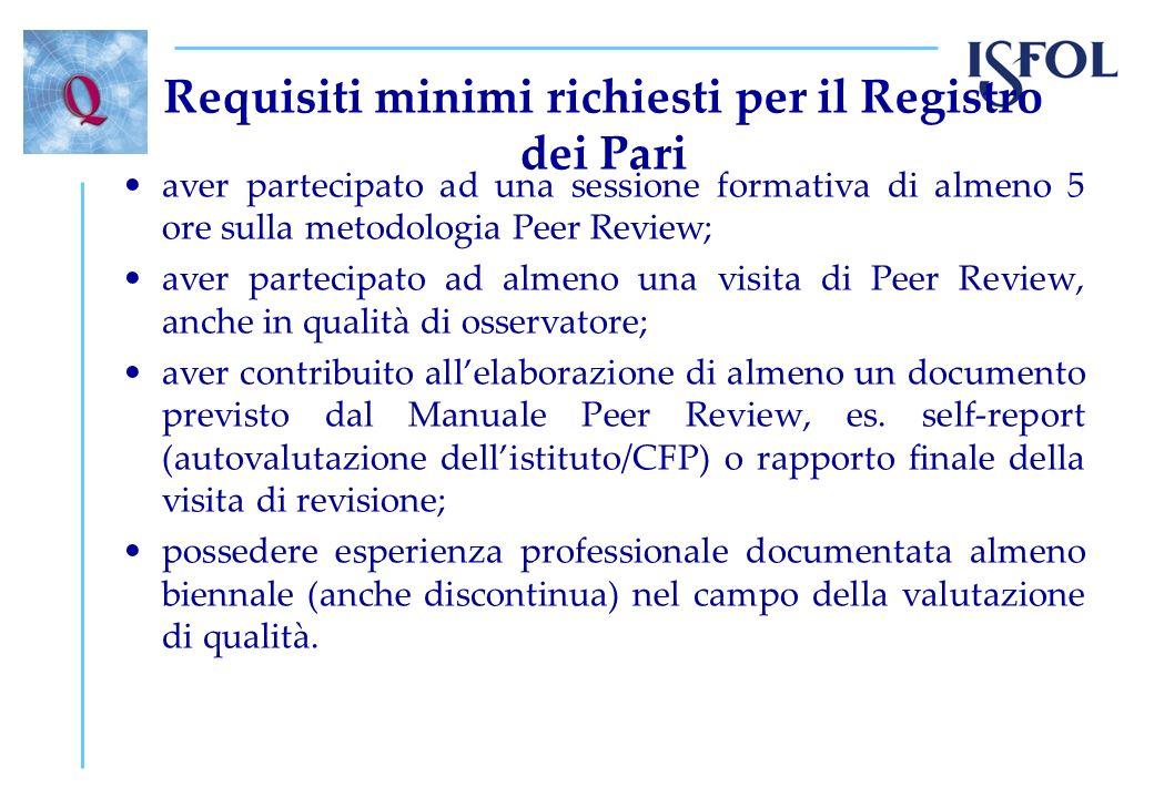 Requisiti minimi richiesti per il Registro dei Pari aver partecipato ad una sessione formativa di almeno 5 ore sulla metodologia Peer Review; aver par
