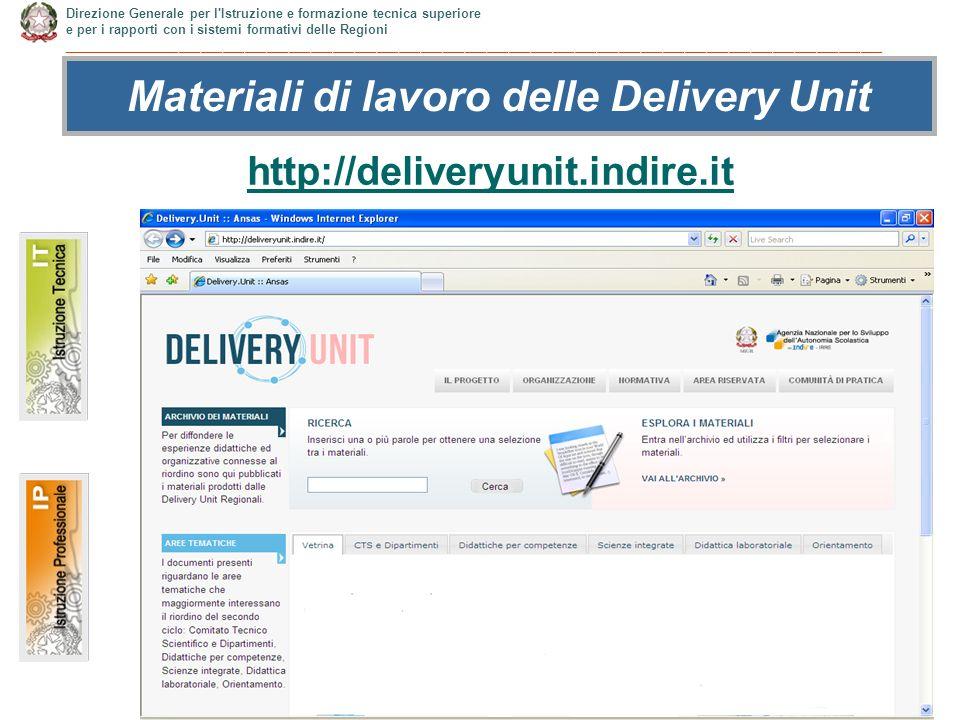 7 http://deliveryunit.indire.it Materiali di lavoro delle Delivery Unit Direzione Generale per l Istruzione e formazione tecnica superiore e per i rapporti con i sistemi formativi delle Regioni ________________________________________________________________________________________________________________