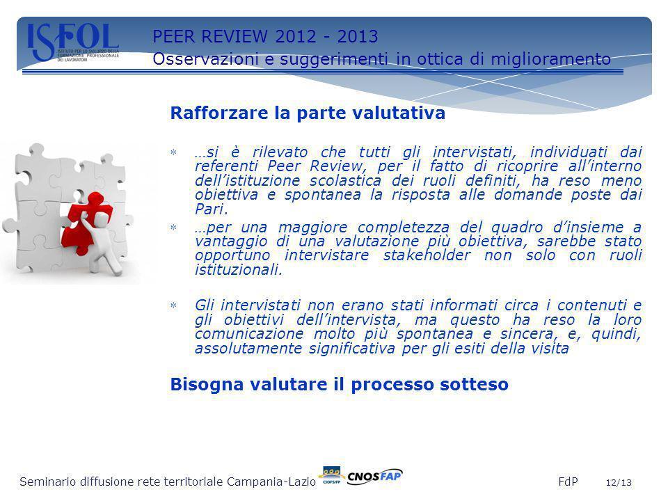12 Seminario diffusione rete territoriale Campania-Lazio FdP 12/13 PEER REVIEW 2012 - 2013 Osservazioni e suggerimenti in ottica di miglioramento Raff