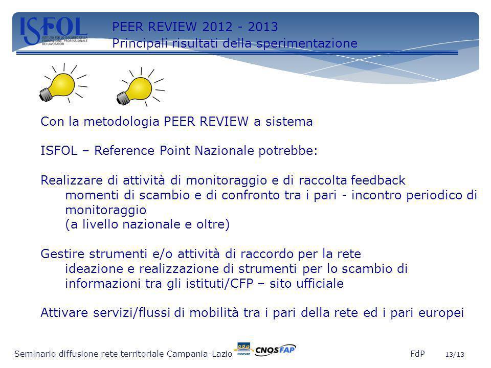 13 Con la metodologia PEER REVIEW a sistema ISFOL – Reference Point Nazionale potrebbe: Realizzare di attività di monitoraggio e di raccolta feedback