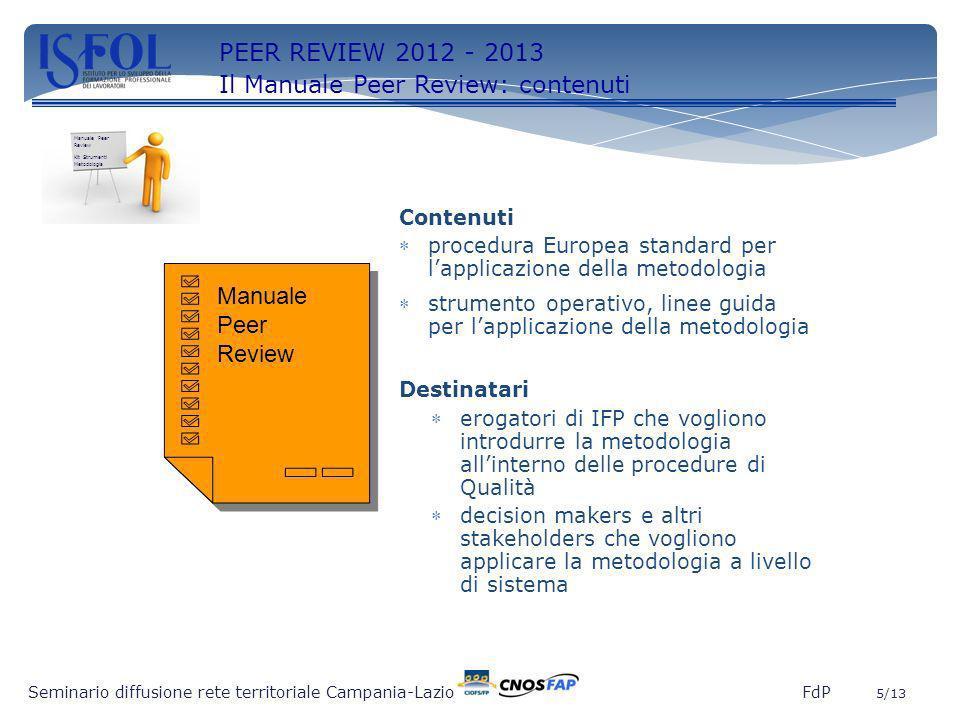5 Seminario diffusione rete territoriale Campania-Lazio FdP 5/13 PEER REVIEW 2012 - 2013 Il Manuale Peer Review: contenuti Contenuti procedura Europea