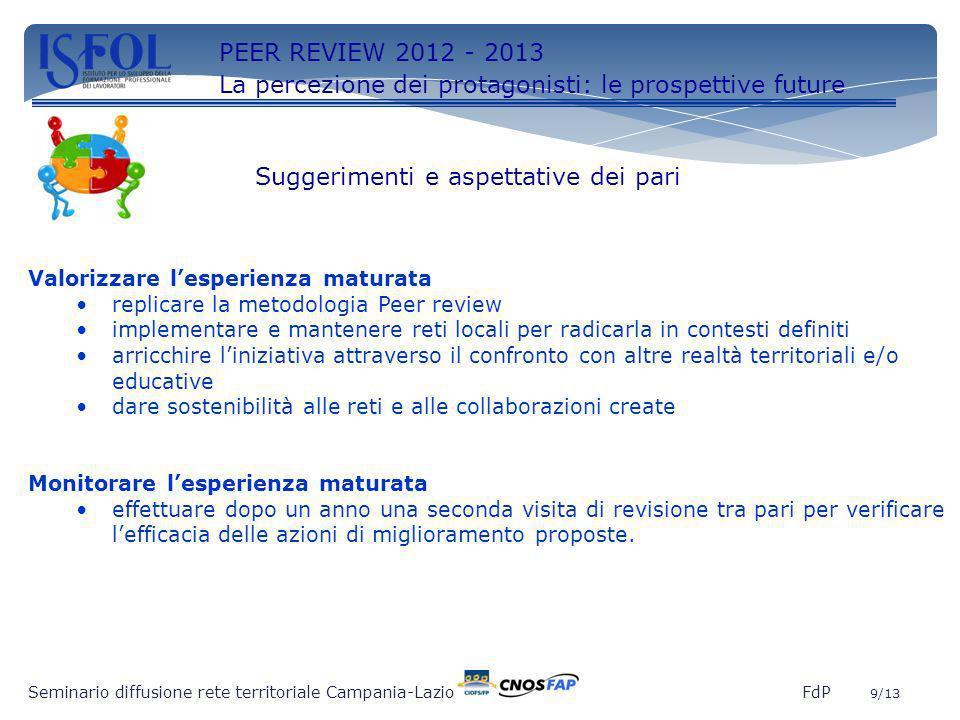 9 Seminario diffusione rete territoriale Campania-Lazio FdP 9/13 Valorizzare lesperienza maturata replicare la metodologia Peer review implementare e