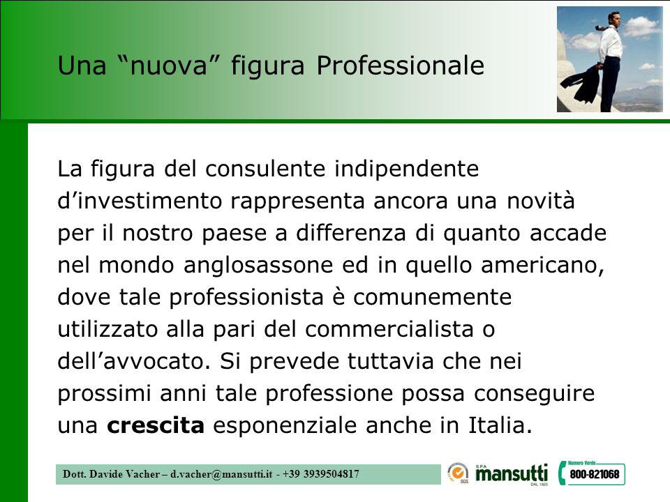 Dott. Davide Vacher – d.vacher@mansutti.it - +39 3939504817 Una nuova figura Professionale La figura del consulente indipendente dinvestimento rappres