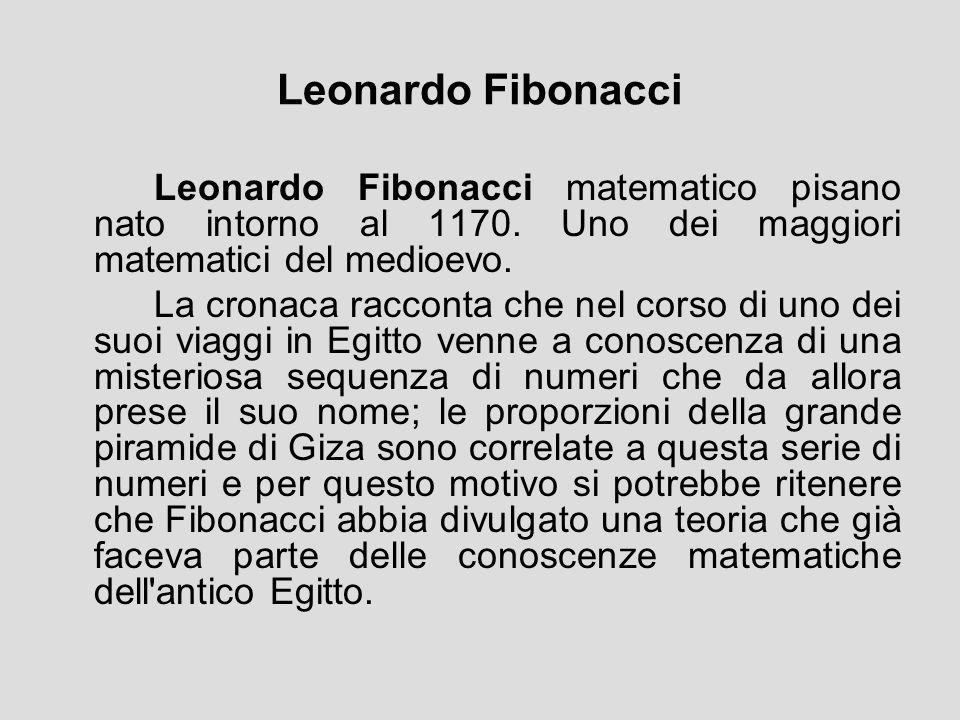 Leonardo Fibonacci Leonardo Fibonacci matematico pisano nato intorno al 1170. Uno dei maggiori matematici del medioevo. La cronaca racconta che nel co