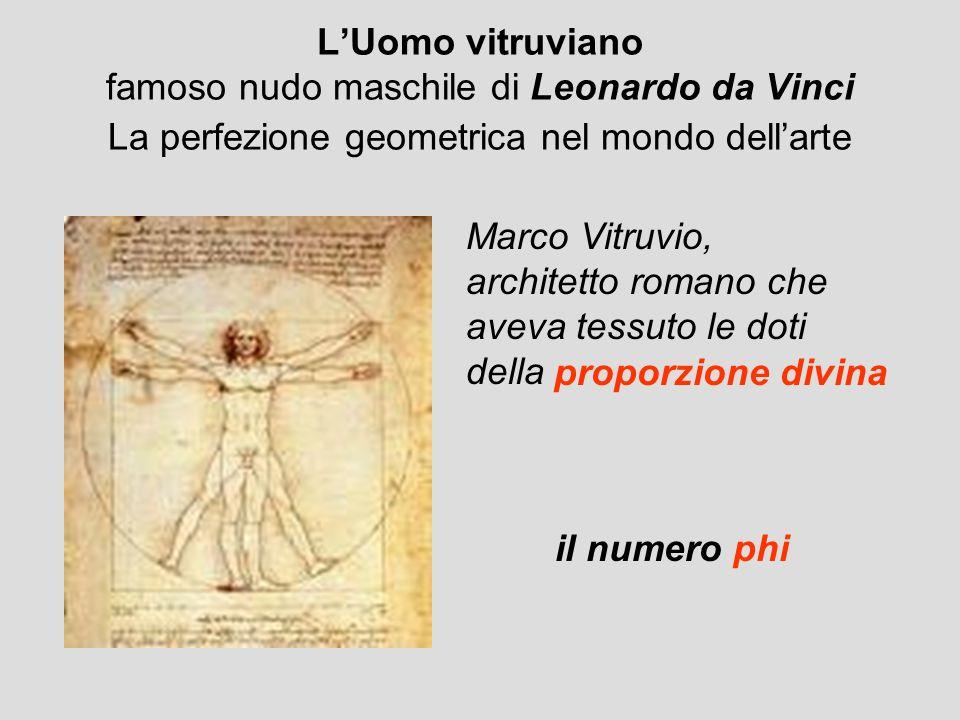 LUomo vitruviano famoso nudo maschile di Leonardo da Vinci La perfezione geometrica nel mondo dellarte Marco Vitruvio, architetto romano che aveva tes