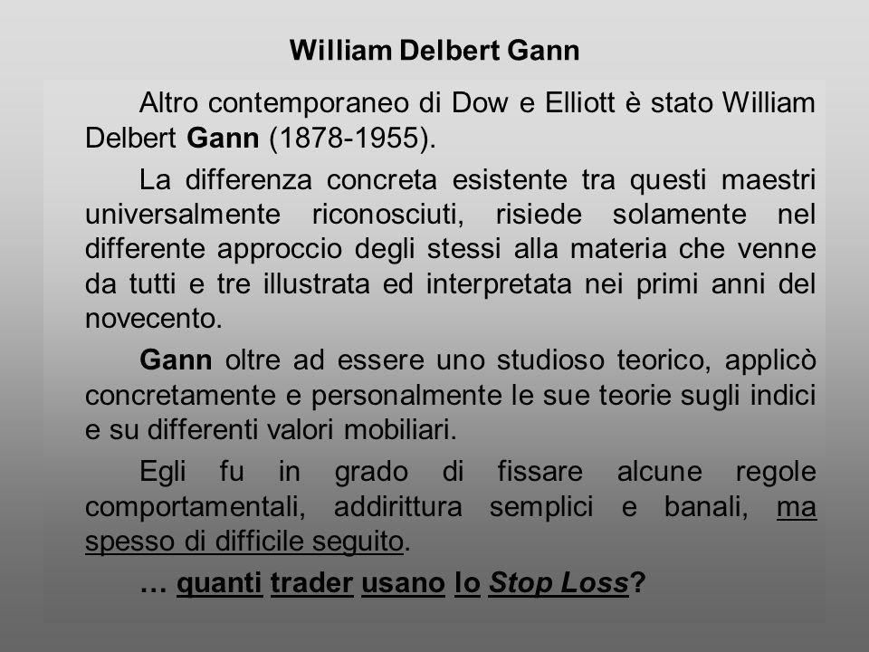 William Delbert Gann Altro contemporaneo di Dow e Elliott è stato William Delbert Gann (1878-1955). La differenza concreta esistente tra questi maestr
