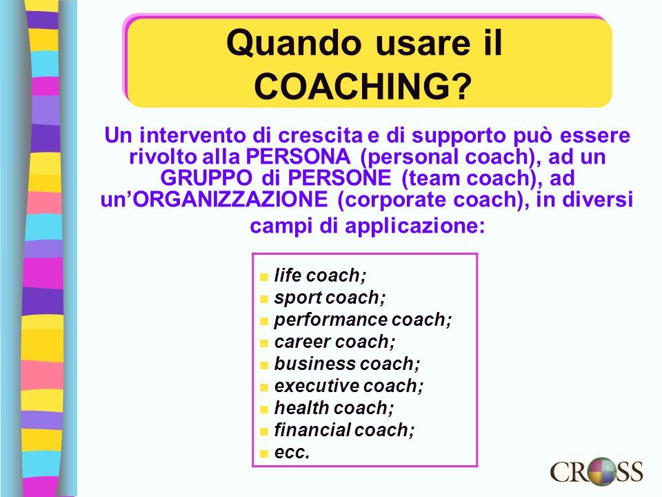 Quando usare il COACHING? Un intervento di crescita e di supporto può essere rivolto alla PERSONA (personal coach), ad un GRUPPO di PERSONE (team coac