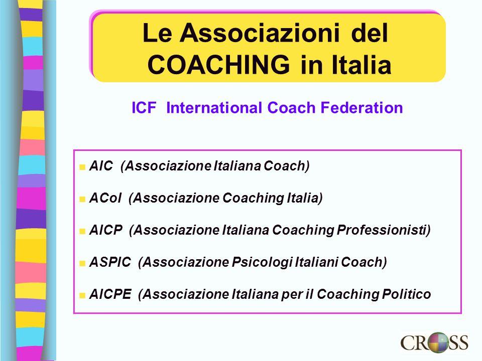 Le Associazioni del COACHING in Italia ICF International Coach Federation n AIC (Associazione Italiana Coach) n ACoI (Associazione Coaching Italia) n
