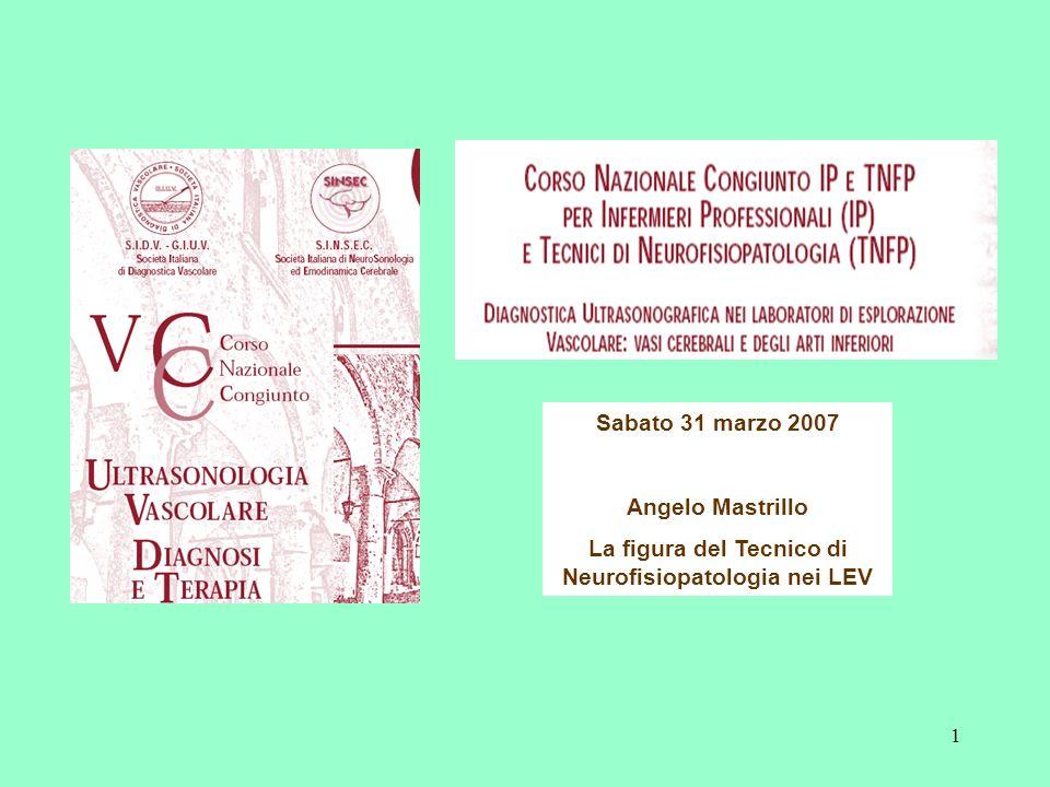 1 Sabato 31 marzo 2007 Angelo Mastrillo La figura del Tecnico di Neurofisiopatologia nei LEV