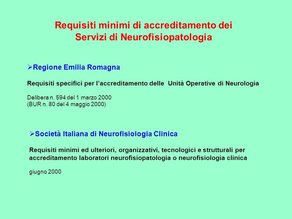 Requisiti minimi di accreditamento dei Servizi di Neurofisiopatologia Regione Emilia Romagna Requisiti specifici per laccreditamento delle Unità Opera