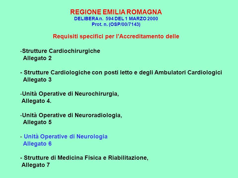 REGIONE EMILIA ROMAGNA DELIBERA n. 594 DEL 1 MARZO 2000 Prot. n. (OSP/00/7143) Requisiti specifici per l'Accreditamento delle -Strutture Cardiochirurg
