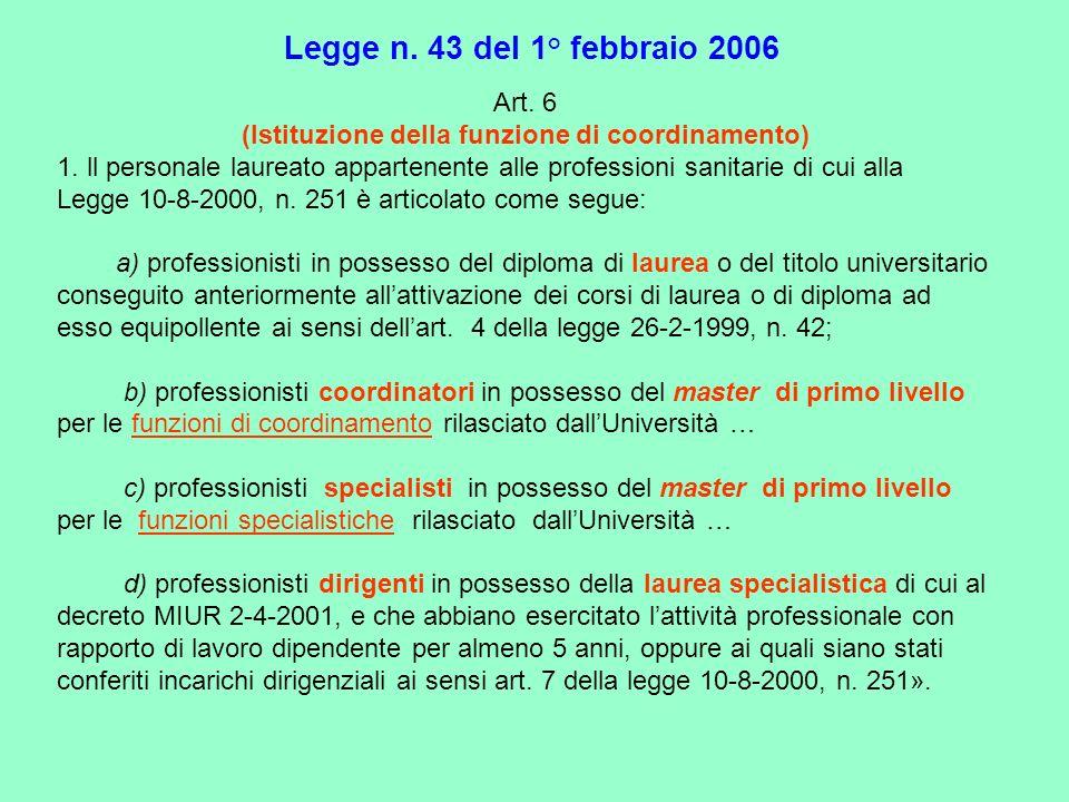 Art. 6 (Istituzione della funzione di coordinamento) 1. ll personale laureato appartenente alle professioni sanitarie di cui alla Legge 10-8-2000, n.