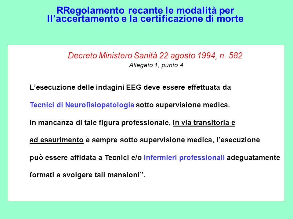 RRegolamento recante le modalità per llaccertamento e la certificazione di morte Decreto Ministero Sanità 22 agosto 1994, n. 582 Allegato 1, punto 4 L
