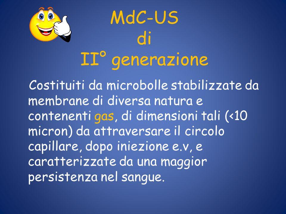 MdC-US di II° generazione Costituiti da microbolle stabilizzate da membrane di diversa natura e contenenti gas, di dimensioni tali (<10 micron) da att