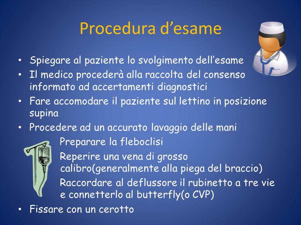 Procedura desame Spiegare al paziente lo svolgimento dellesame Il medico procederà alla raccolta del consenso informato ad accertamenti diagnostici Fa