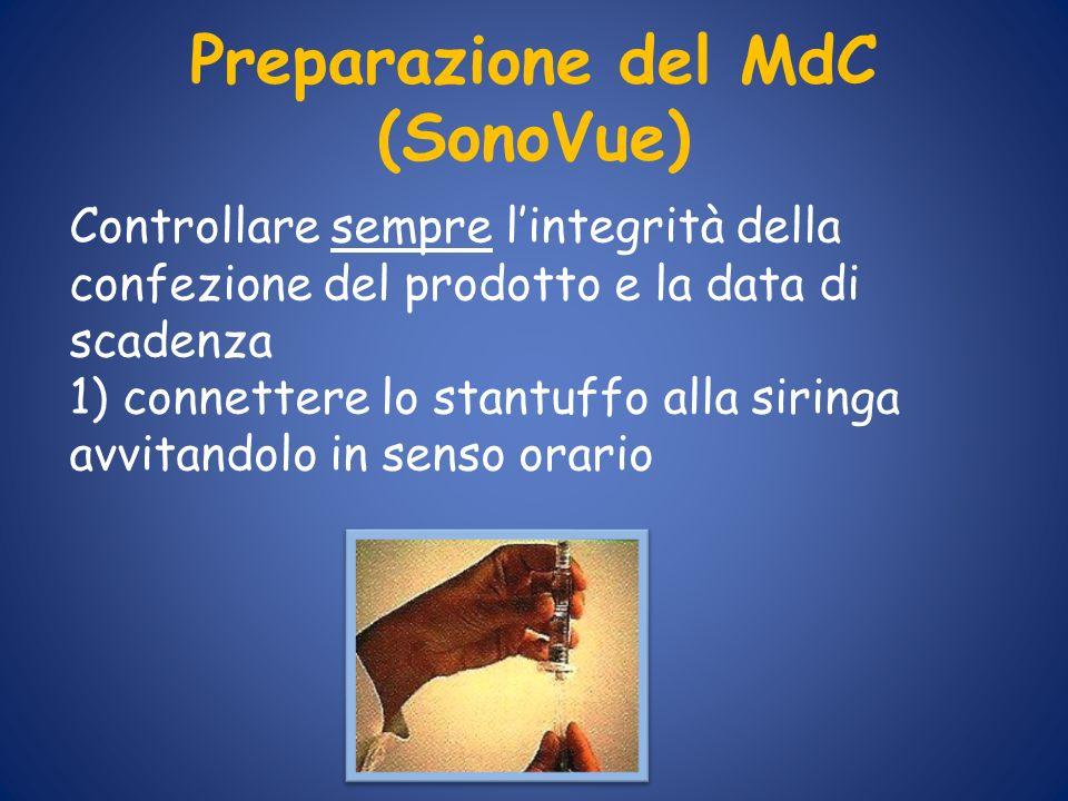Preparazione del MdC (SonoVue) Controllare sempre lintegrità della confezione del prodotto e la data di scadenza 1) connettere lo stantuffo alla sirin