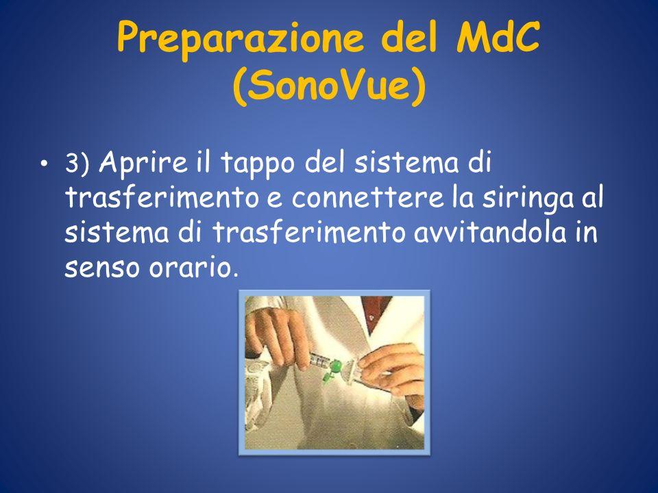 Preparazione del MdC (SonoVue) 3) Aprire il tappo del sistema di trasferimento e connettere la siringa al sistema di trasferimento avvitandola in sens