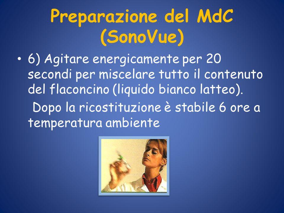 Preparazione del MdC (SonoVue) 6) Agitare energicamente per 20 secondi per miscelare tutto il contenuto del flaconcino (liquido bianco latteo). Dopo l