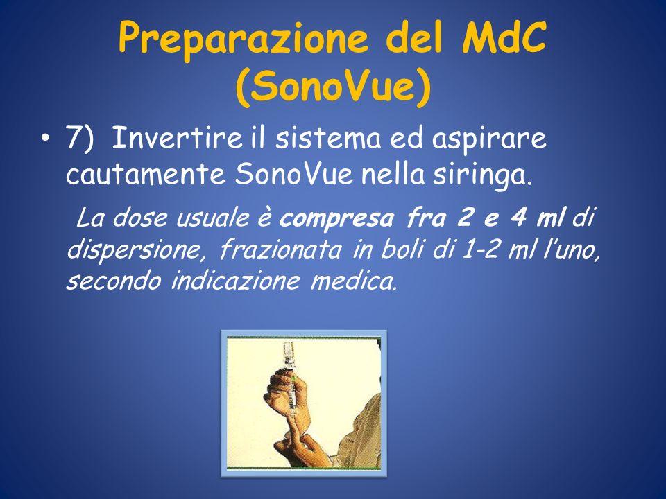 Preparazione del MdC (SonoVue) 7) Invertire il sistema ed aspirare cautamente SonoVue nella siringa. La dose usuale è compresa fra 2 e 4 ml di dispers
