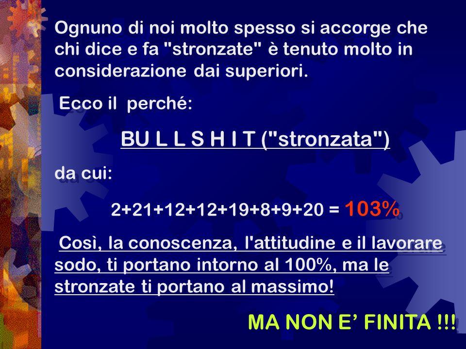 Il vero successo sta nel: A S S K I S S I N G (ovvero leccare il culo ) 1+19+19+11+9+19+19+9+14+7 = 118% Sorprendente vero.