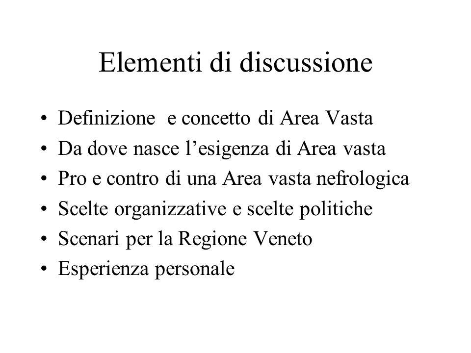 Elementi di discussione Definizione e concetto di Area Vasta Da dove nasce lesigenza di Area vasta Pro e contro di una Area vasta nefrologica Scelte o