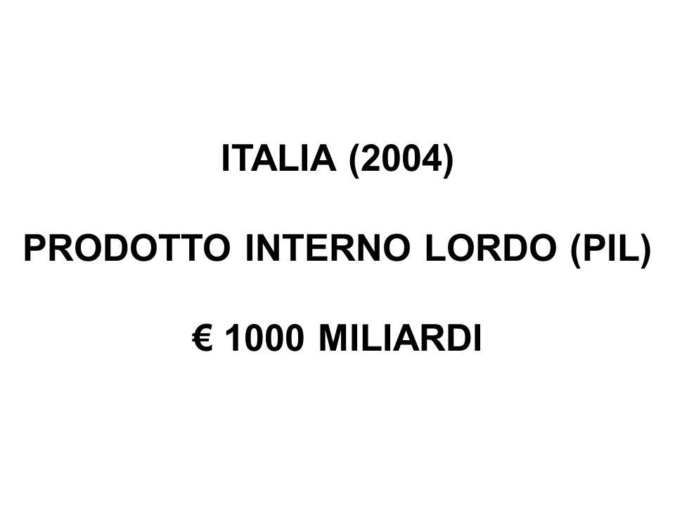 ITALIA (2004) PRODOTTO INTERNO LORDO (PIL) 1000 MILIARDI