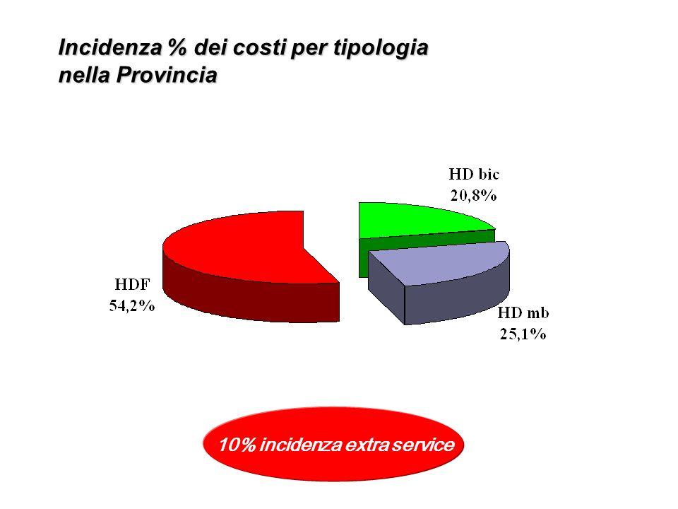 Incidenza % dei costi per tipologia nella Provincia 10% incidenza extra service