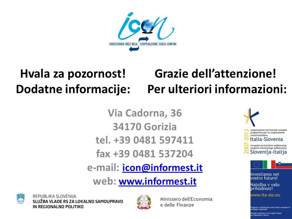 Hvala za pozornost. Dodatne informacije: Via Cadorna, 36 34170 Gorizia tel.