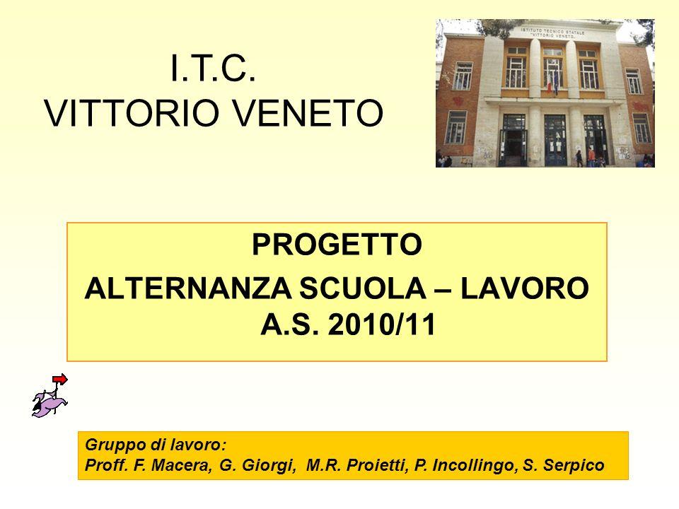 PROGETTO ALTERNANZA SCUOLA – LAVORO A.S. 2010/11 I.T.C. VITTORIO VENETO Gruppo di lavoro: Proff. F. Macera, G. Giorgi, M.R. Proietti, P. Incollingo, S