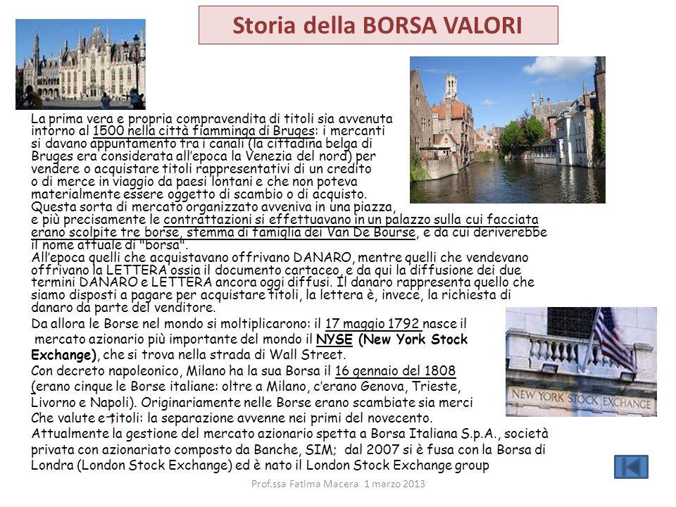 -; La prima vera e propria compravendita di titoli sia avvenuta intorno al 1500 nella città fiamminga di Bruges: i mercanti si davano appuntamento tra