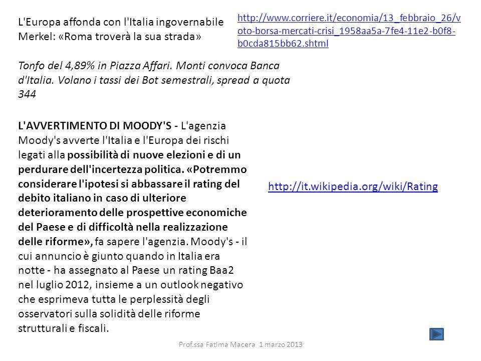 L'Europa affonda con l'Italia ingovernabile Merkel: «Roma troverà la sua strada» Tonfo del 4,89% in Piazza Affari. Monti convoca Banca d'Italia. Volan