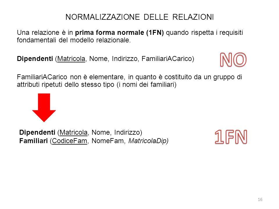 NORMALIZZAZIONE DELLE RELAZIONI Una relazione è in prima forma normale (1FN) quando rispetta i requisiti fondamentali del modello relazionale. Dipende