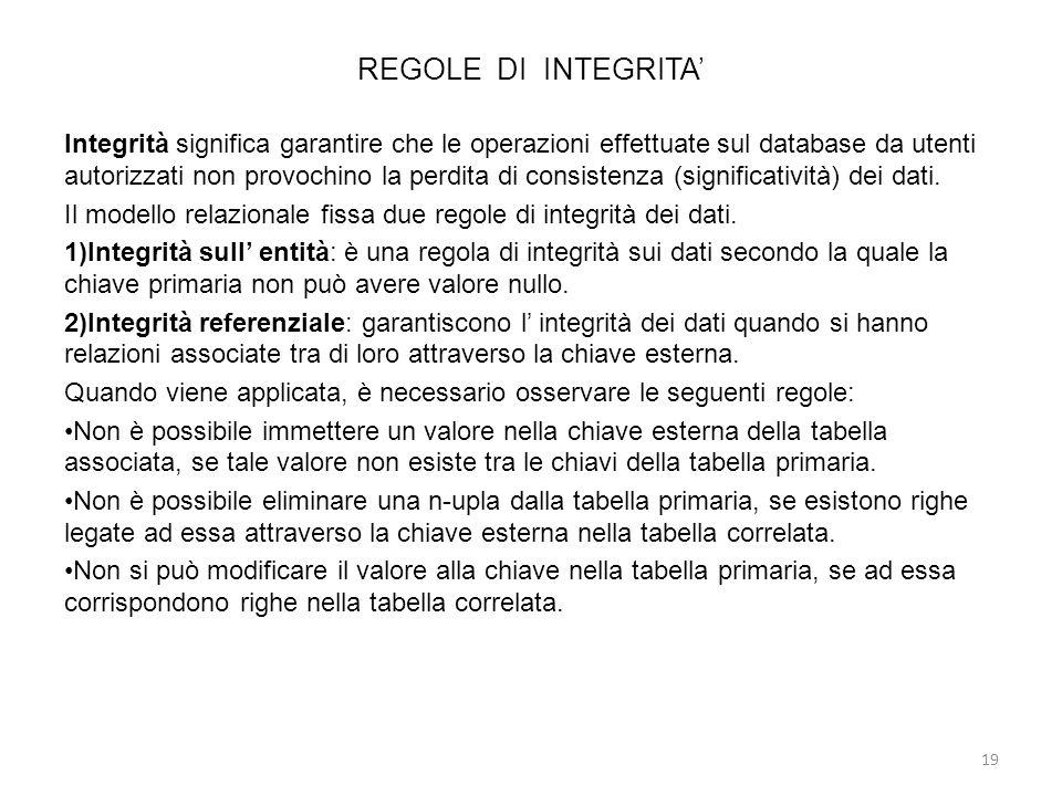 REGOLE DI INTEGRITA Integrità significa garantire che le operazioni effettuate sul database da utenti autorizzati non provochino la perdita di consist