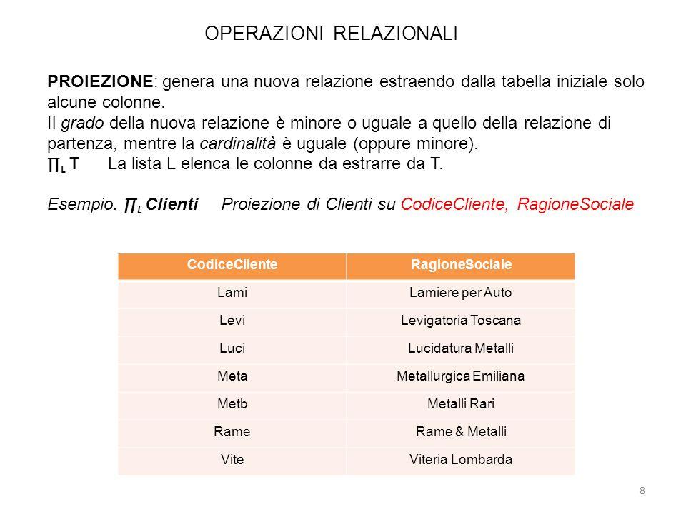 OPERAZIONI RELAZIONALI 8 PROIEZIONE: genera una nuova relazione estraendo dalla tabella iniziale solo alcune colonne. Il grado della nuova relazione è