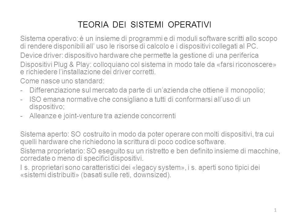TEORIA DEI SISTEMI OPERATIVI Sistema operativo: è un insieme di programmi e di moduli software scritti allo scopo di rendere disponibili all uso le ri