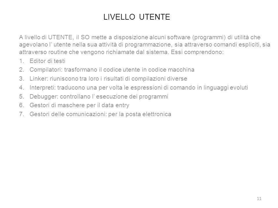 LIVELLO UTENTE A livello di UTENTE, il SO mette a disposizione alcuni software (programmi) di utilità che agevolano l utente nella sua attività di pro